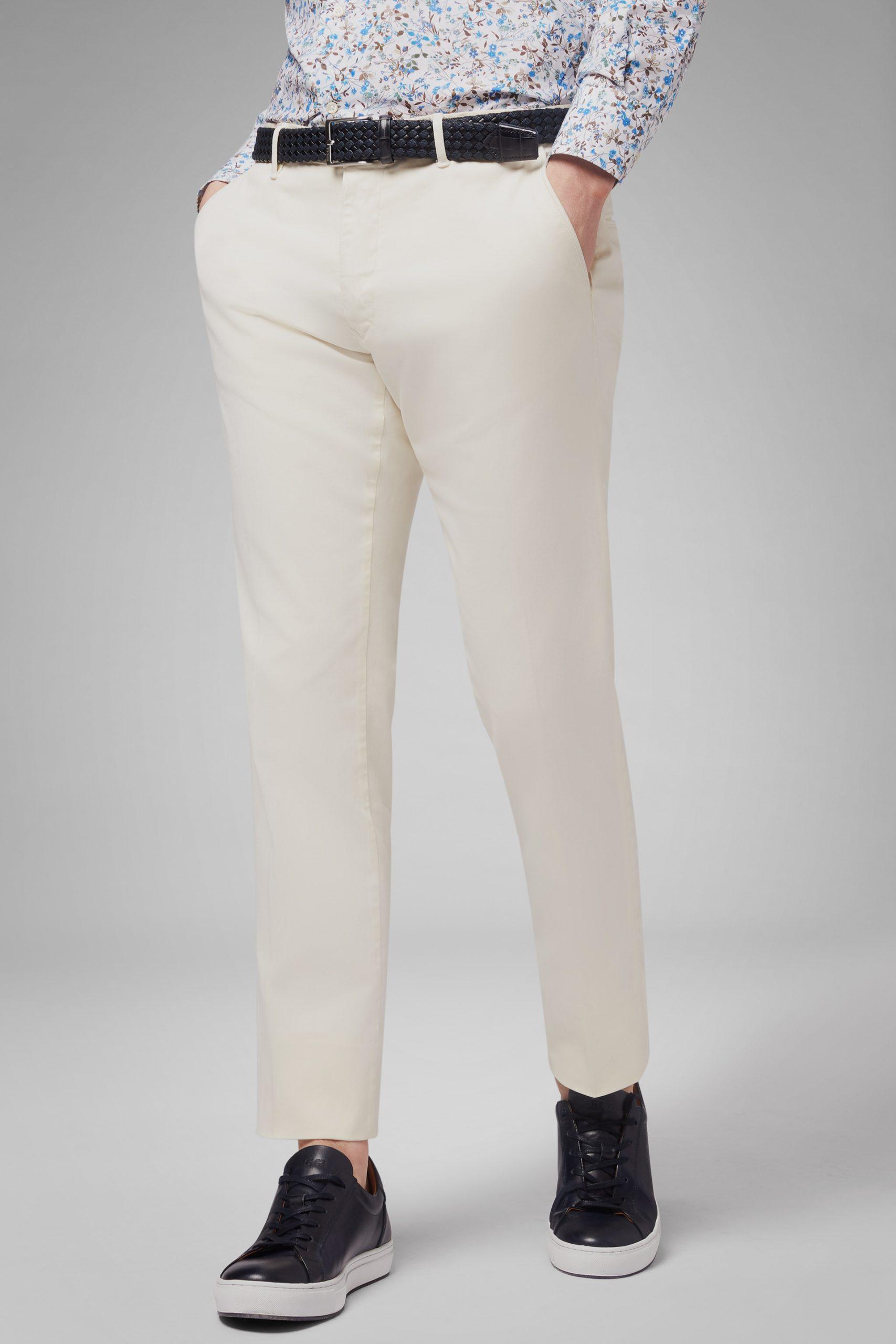 Pantaloni da uomo in colore Panna in materiale