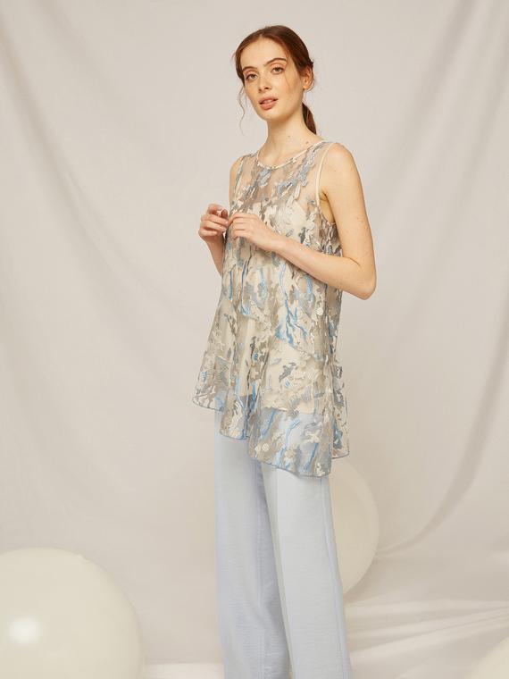 Caractere Abbigliamento > Top e t-shirt Grigio - Caractère Top in organza ricamata Donna Grigio