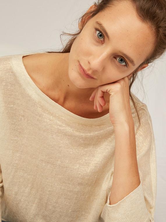 Caractere Abbigliamento > Top e t-shirt Beige - Caractère T-shirt effetto lurex Donna Beige