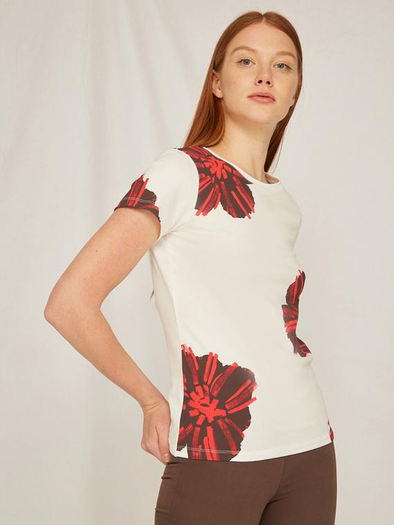Caractere Abbigliamento > Top e t-shirt Bianco - Caractère T-shirt floreale Donna Bianco