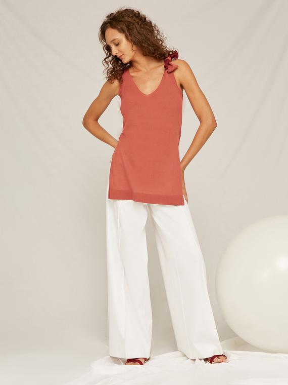 Caractere Abbigliamento > Maglieria e tricot Rosa - Caractère Top in maglia con nodo Donna Rosa