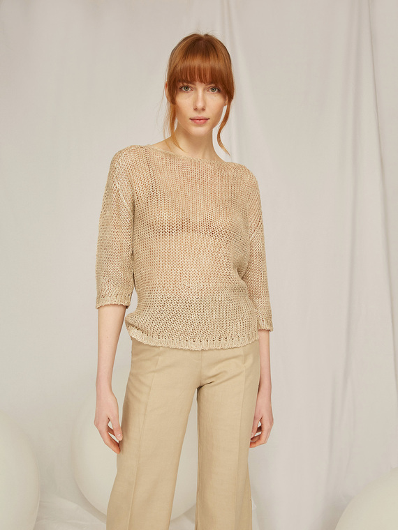 Caractere Abbigliamento > Maglieria e tricot Beige - Caractère Maglia laminata Donna Beige