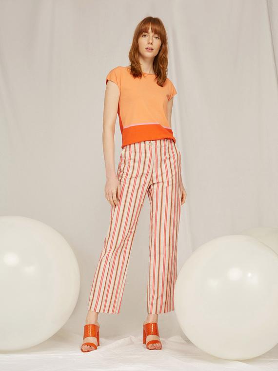 Caractere Abbigliamento > Pantaloni e jeans Arancione - Caractère Pantaloni a righe Donna Arancione