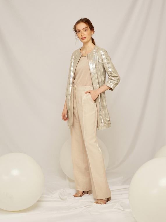 Caractere Abbigliamento > Pantaloni e jeans Beige - Caractère Pantaloni in tessuto pregiato Donna Beige