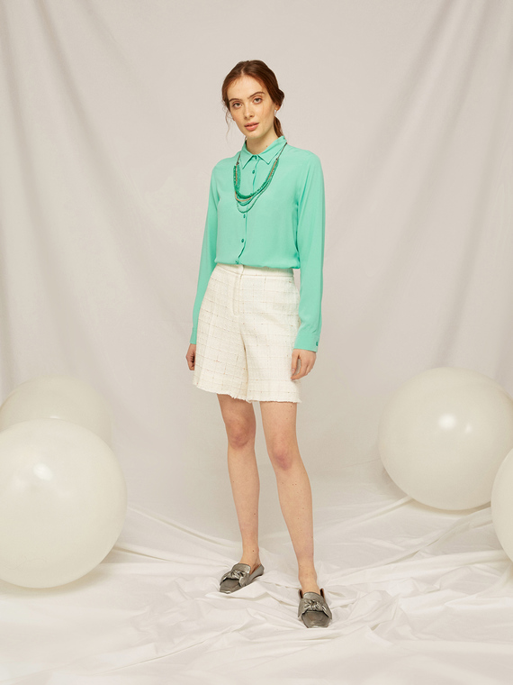 Caractere Abbigliamento > Pantaloni e jeans Bianco - Caractère Pantaloni corti in tessuto lavorato Donna Bianco
