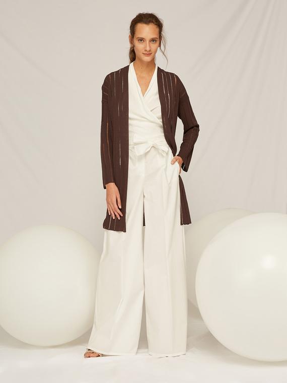 Caractere Abbigliamento > Pantaloni e jeans Bianco - Caractère Pantaloni palazzo con fusciacca in vita Donna Bianco