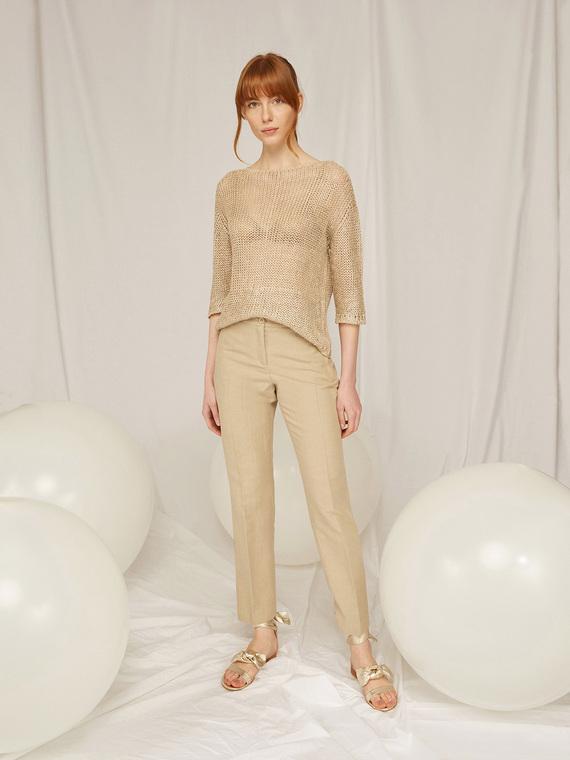 Caractere Abbigliamento > Pantaloni e jeans Beige - Caractère Pantaloni dritti in tessuto lavorato Donna Beige
