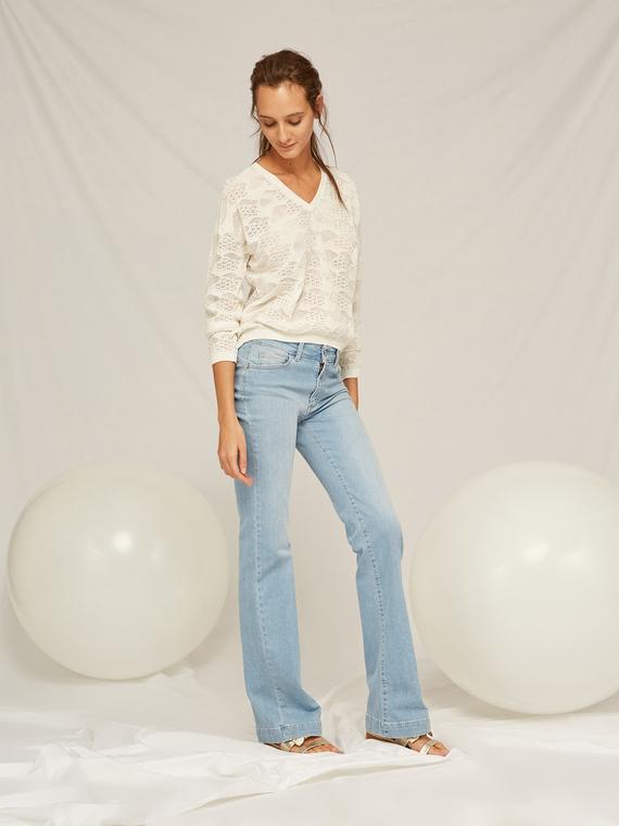 Caractere Abbigliamento > Pantaloni e jeans Blu - Caractère Jeans flare lavaggio chiaro Donna Blu