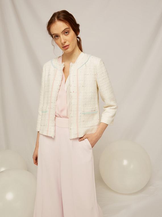 Caractere Cappotti e giacche > Giacche e blazer Bianco - Caractère Giacca corta con bordi colorati Donna Bianco