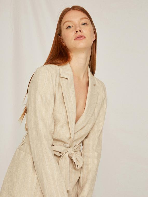Caractere Cappotti e giacche > Giacche e blazer Beige - Caractère Giacca a righe con fusciacca Donna Beige