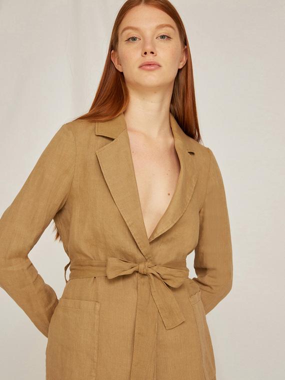 Caractere Cappotti e giacche > Giacche e blazer Beige - Caractère Giacca in lino con fusciacca Donna Beige