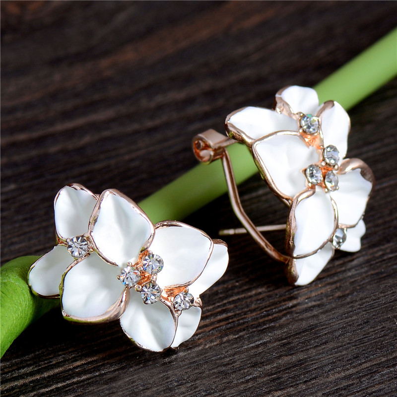 H:HYDE Beautiful design Wholesales Gold Color flower Austrian Crystal hoop earrings for Christmas gifts
