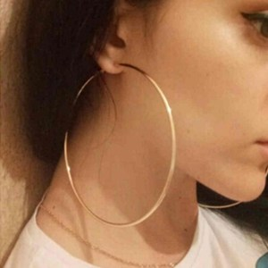 Super Big Circles Hoop Earrings For Women Fashion Gold Silver Color Jewelry Trendy Retro Big Round Circle Earrings