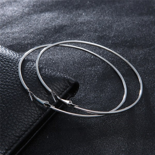 2017 Big Circle Smooth Large 8cm 10cm Fashion Gold Silver Hyperbole Ear Metal Hoop Earrings women