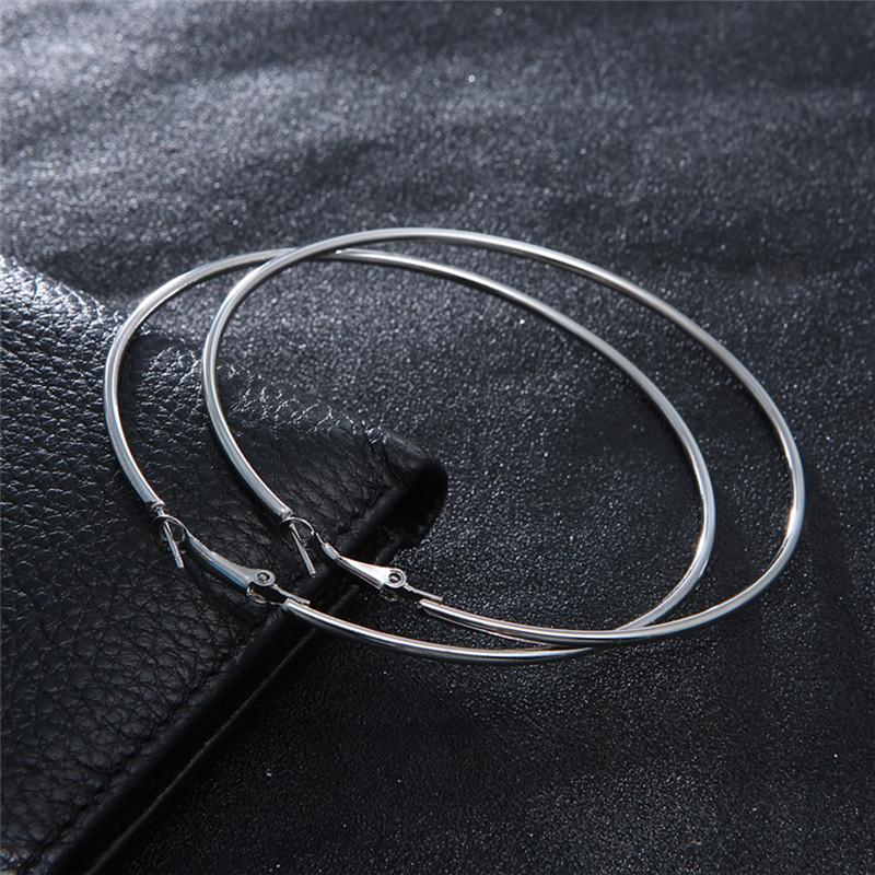 2017 Big Circle Smooth Large 8cm 10cm Fashion Gold Silver Hyperbole Ear Metal Hoop Earrings women