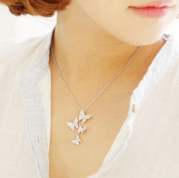 Jisensp New Arrival Multiple Zircon Butterfly Necklaces & Pendants for Women Jewelry CZ Wedding Chokers Necklace SYXL051
