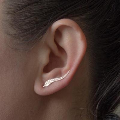 Jisensp Vintage Feather Earrings For Women Boucle D'oreille Femme Fashion Leaf Leaves Earrings Brinco Jewelry Pendientes Bijoux