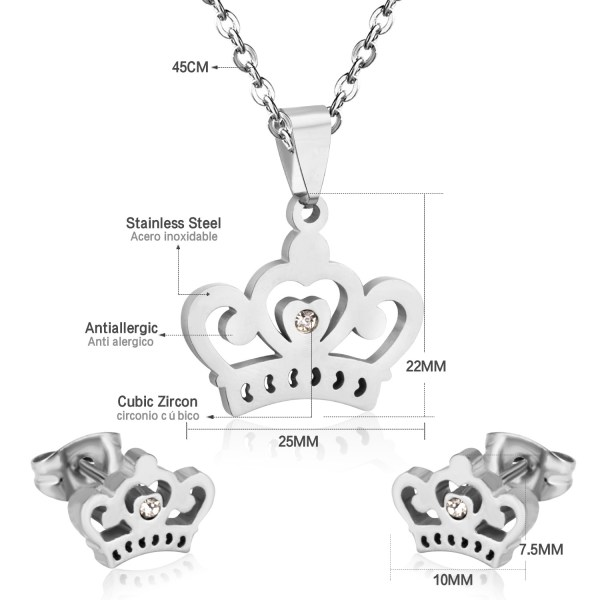 LUXUSTEEL Bridal Jewelry Sets Stainless Steel Crown Gold/Silver Color Pendant Necklace Fashion Charm Crystal Earrings For Women