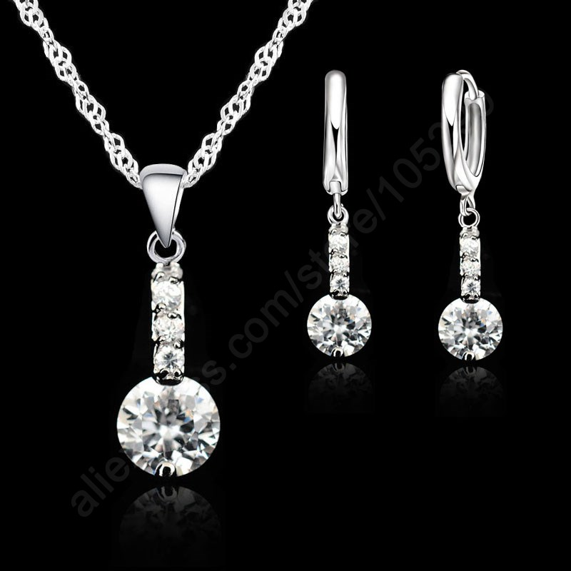 JEXXI 2018 Shining Cubic Zirconia 925 Sterling Silver Jewelry Sets Pendant Necklace Earring+ Singapore Chain Woman Dress Gift