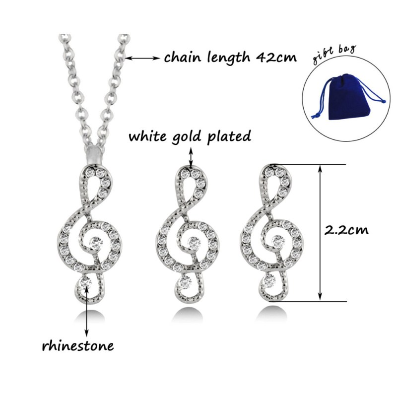 SINLEERY Brand Women Musical Jewelry Set Silver Color Rhinestone Music Note Symbol Earring Necklace Set For Girl Party TZ464