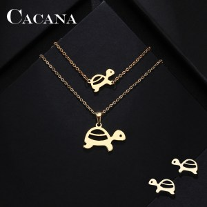CACANA Stainless Steel Sets For Women Tortoise Shape Necklace Bracelet Earring Jewelry set Lover's Engagement Jewelry S217