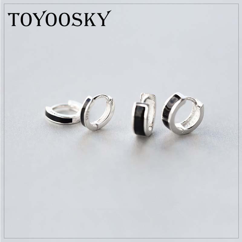 Real 925 Sterling Silver Black Small Large OL Style Clip Earrings Ear Cuff Clip On Earrings Jewelry No Piercing For Men Women