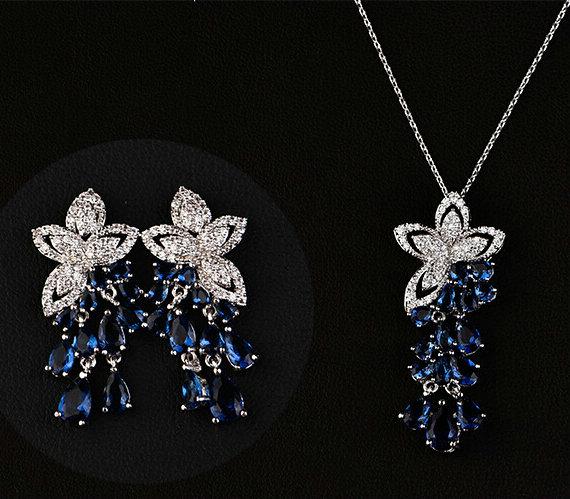 SINZRY Hotsale 2017 white Cubic zircon flower tassel choker pendant necklace earring jewelry set Korean jewelery