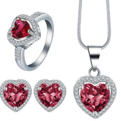 Top quality Girl Women Accessories Bridal Silver Color Crystal Heart Necklace Earrings jewelry Sets Wholesale Fashion Jewellery