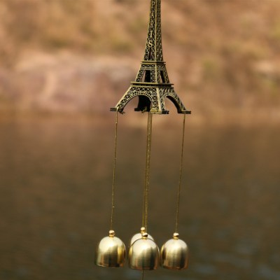 Antique Classical 4 Copper Alloy Bells Antirust Eiffel Tower Shape Wind Chimes Outdoor Indoor Home Decor Sound