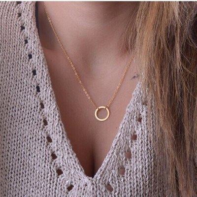 Casual Personality Circle Lariat Pendant Gold Color Necklace High Quality Simple Choker Necklaces Women
