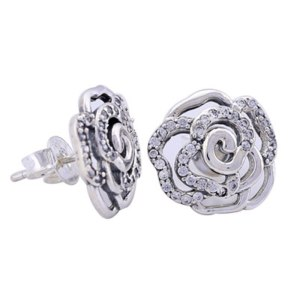 Shimmering Rose Stud Earrings
