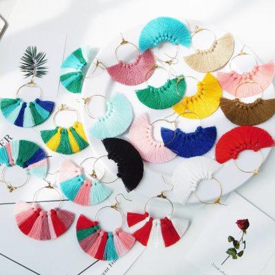 HC 22 Colors Women Bohemia Tassel Earrings Cotton Dangle Ear Jewelry Fashion Fringe Vintage Earrings Trendy Big Drop Earrings W