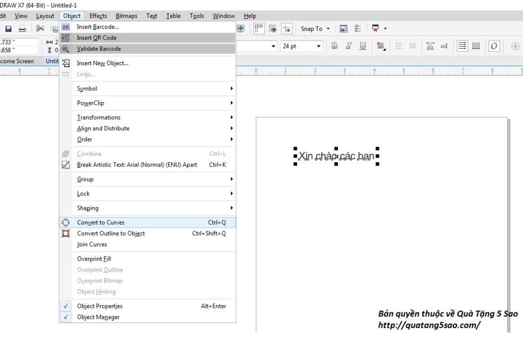 Cách chuyển text thành outline trong Corel