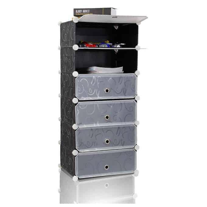 6 Portable Cubes Shoe Rack – Black