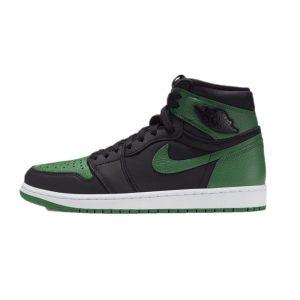 nike air jordan 1 retro high black opine green