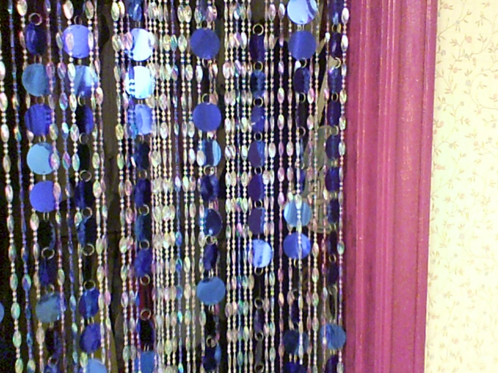 Ice Pop Beaded Curtain Purple Violet Iridescent 3 Ft X 6 Ft