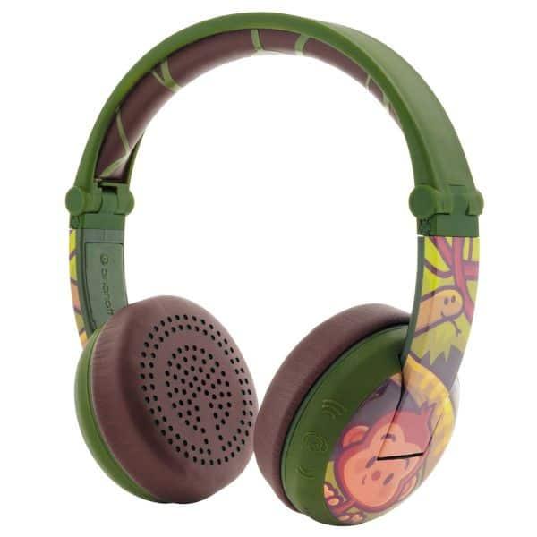 trådløse høretelefoner til børn bluetooth headset til børn grønne høretelefoner wireless til børn buddyphones grøn money green money - Guide til høretelefoner til børn