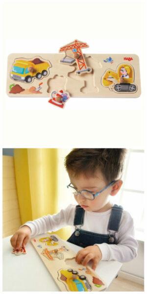 haba knoppuslespil med gravemaskiner puslespil med gravko puslespil til 1 årig legetøj med gravko legetøj med gravemaskiner puslespil med 4 brikker puslespil til drenge