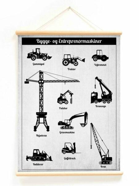 plakat til børneværelset plakat med gravko gravemaskiner plakat retor vintage plakat med entreprenørmaskiner