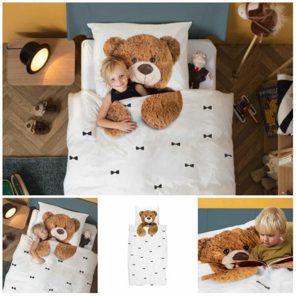 snurk bamse sengetøj snurk teddy sengetøj juniordyne snurk teddy voksendyne indretning børneværelse med bamse tema 600x600 - Snurk sengetøj