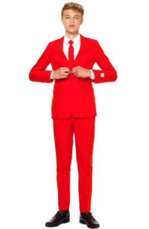 rødt jakkesæt teens postkasserødt jakkesæt med slips sidste skoledag