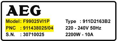 AUG model vaskemaskine PNC nummer Modelnummer - Kul til AEG vaskemaskine motor - til alle modeller