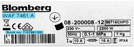 Blomberg vaskemaskine modelnummer hvor finder jeg modelnummer på blomberg vaskemaskine - Varmelegeme til Blomberg vaskemaskine