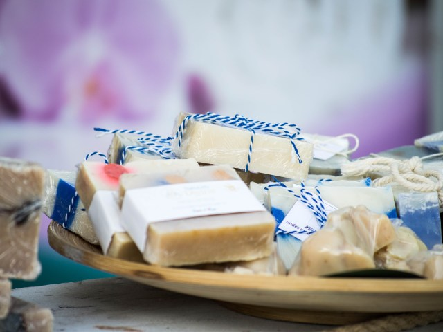 goat's milk soaps on a tray