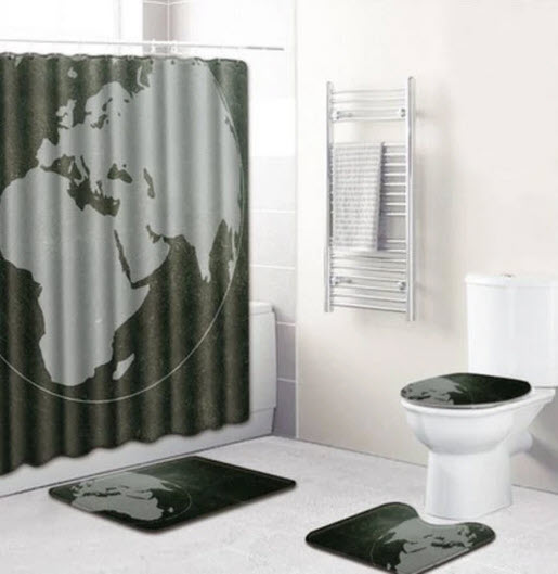 black world shower curtain set
