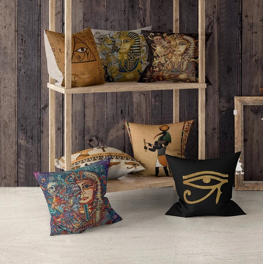 African and Egyptian themed throw pillows