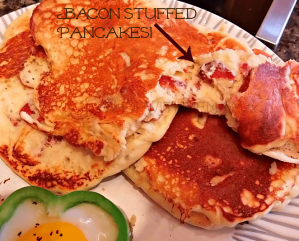 Bacon Stuffed Pancakes And Eggs Sunnyside Up Inside A Green Bell Pepper! Wowzers!