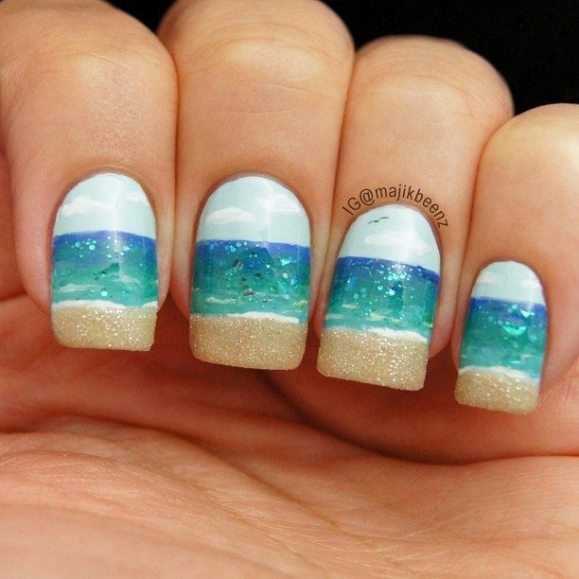 beach nails with sand tips