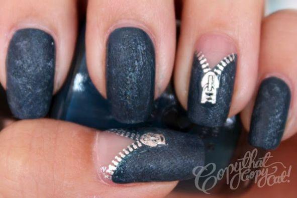 black zipper nail art