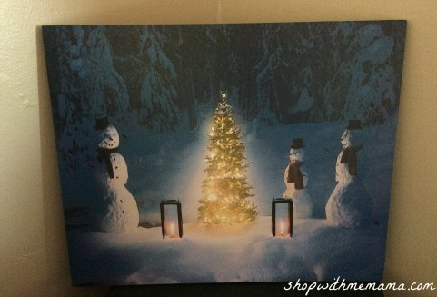 Painted Snowman canvas with Christmas tree